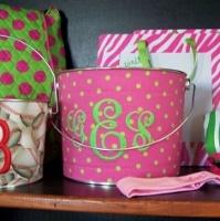Polka dots, pink & green, monograms = LOVE