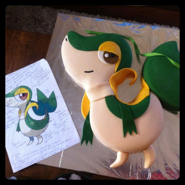 My Snivy cake. What a cutie!