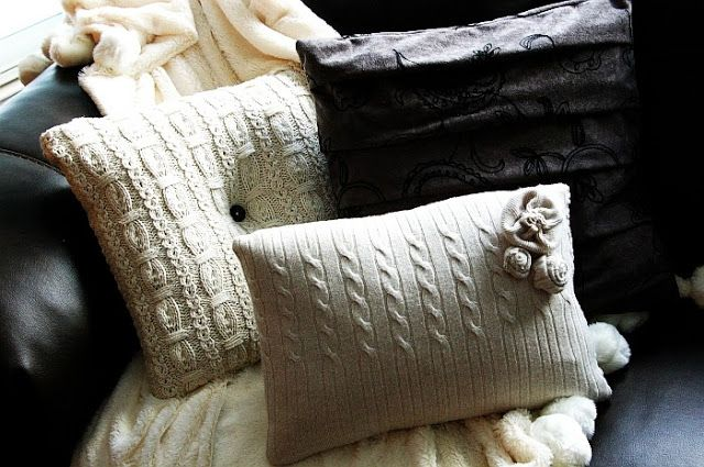 Cute pillows from old sweaters.