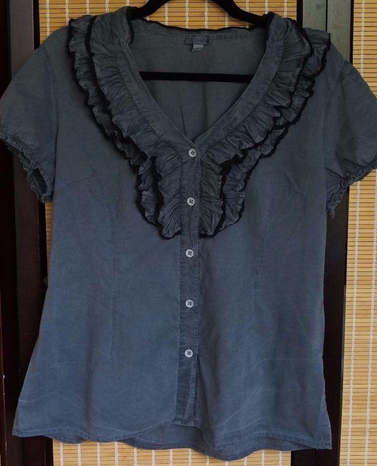 ANTHROPOLOGIE brand Odille sz 12 slate washed grey Ruffle collar button blouse | eBay