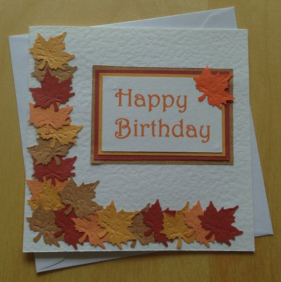 Handmade Square Autumnal Birthday Card with Leaf by CardsbyFrankie, £2.99
