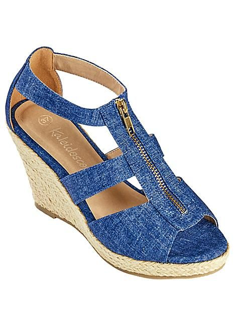 Denim Zip Front Wedge Sandals  #Kaleidoscope #holiday #jetsetting