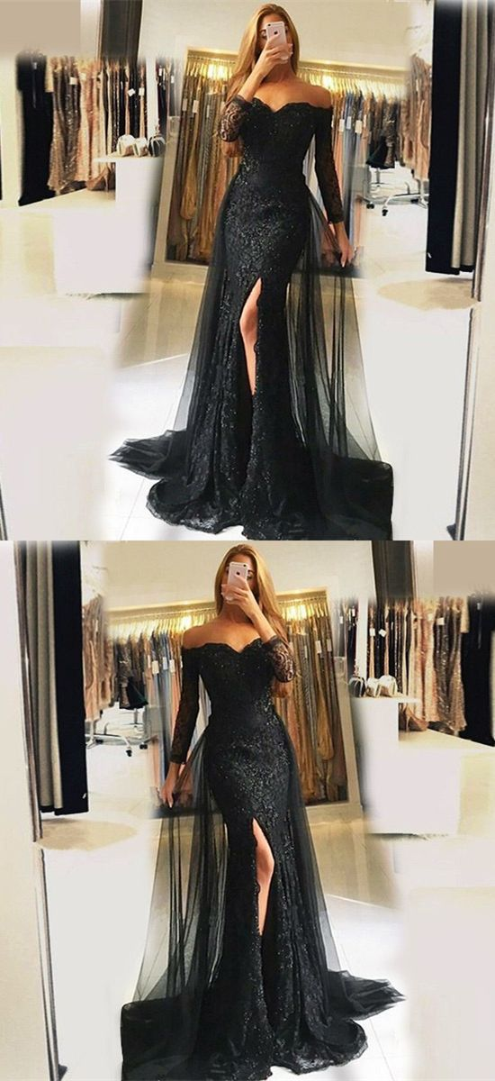 Mermaid Off the Shoulder Detachable Train Black Tulle Prom Dress with Beading Lace, M1296