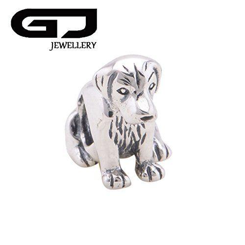 véritable boucles chien assis Charme Compatible avec européenne Charme Bracelet ou collier Pandora, Chamilia,...