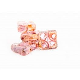 Carved Beads - 10mm Light Rose with Picasso x1