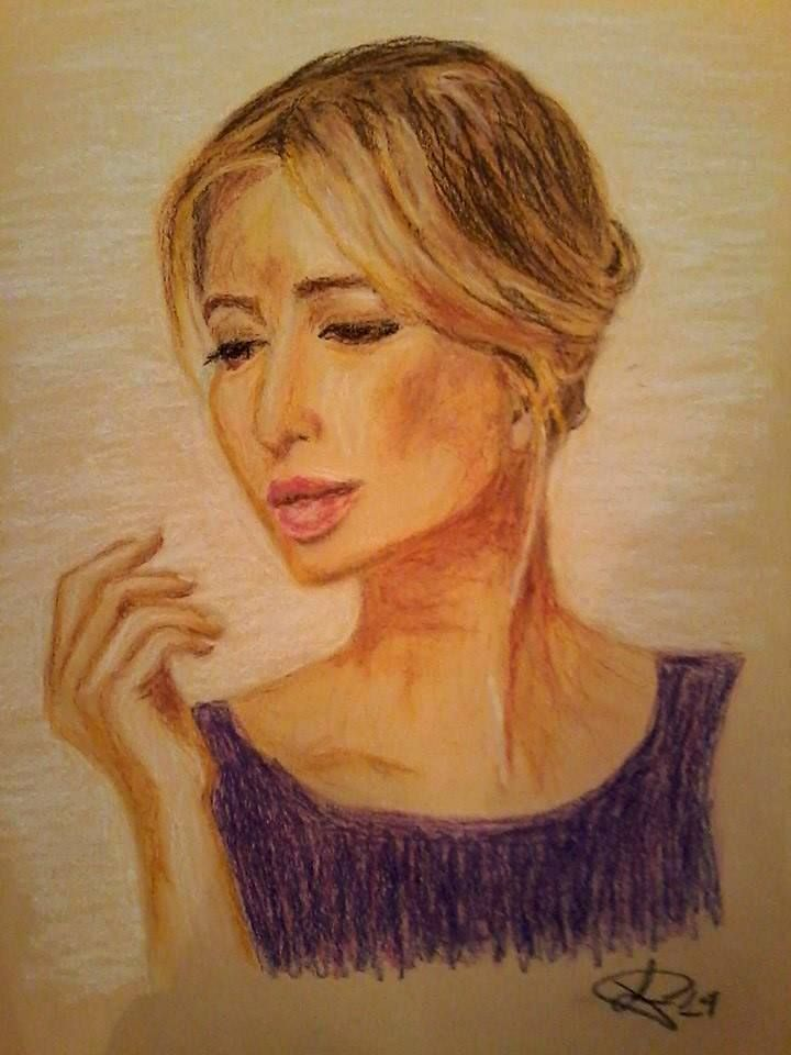 Portrait oil pastels painting original hand made on paper 35X45 cm ca.
