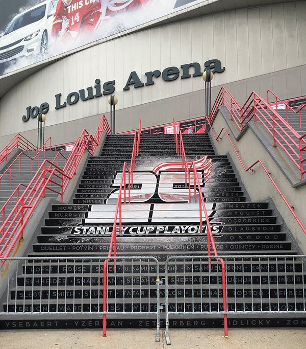 Steps of Joe Louis Arena, paying tribute to names of those who paved #RedWings 25 consecutive playoff appearances