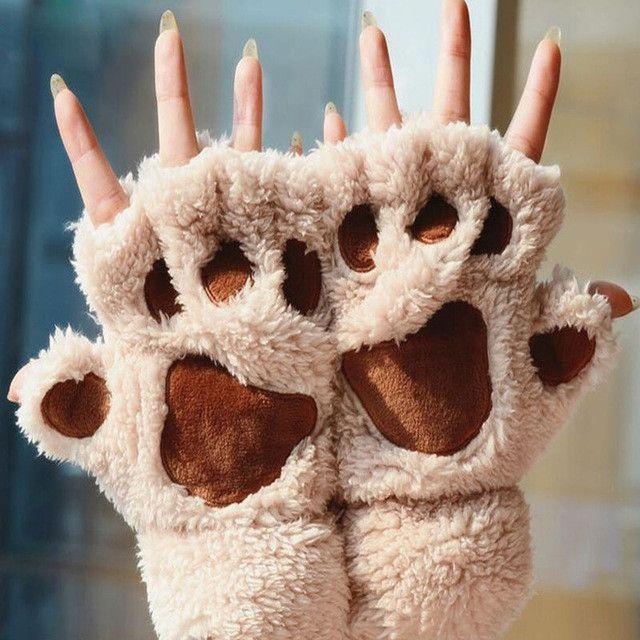 Women S Soft Warm Winter Paw Gloves Fingerless Fluffy Bear Cat