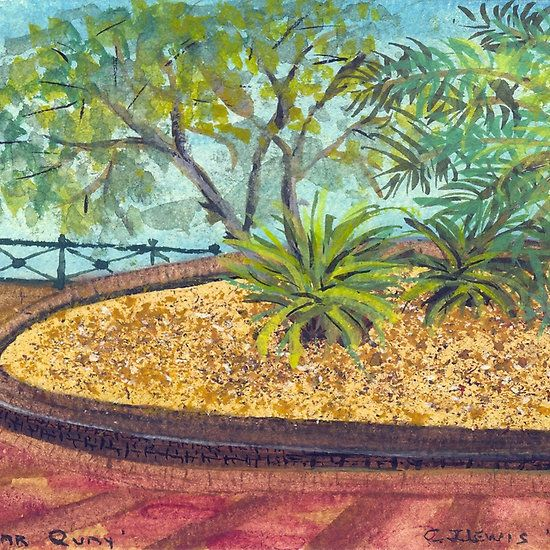 """Oasis at Circular Quay, Sydney, NSW - © C J Lewis, 1998. Watercolours 5 1/2"""" x 5"""" on 176gsm Chelsea water colour paper. An area of Circular Quay in Sydney, NSW, Australia. Various products available at  http://www.redbubble.com/people/chrisjoy/works/4995447-oasis-at-circular-quay-sydney-nsw"""