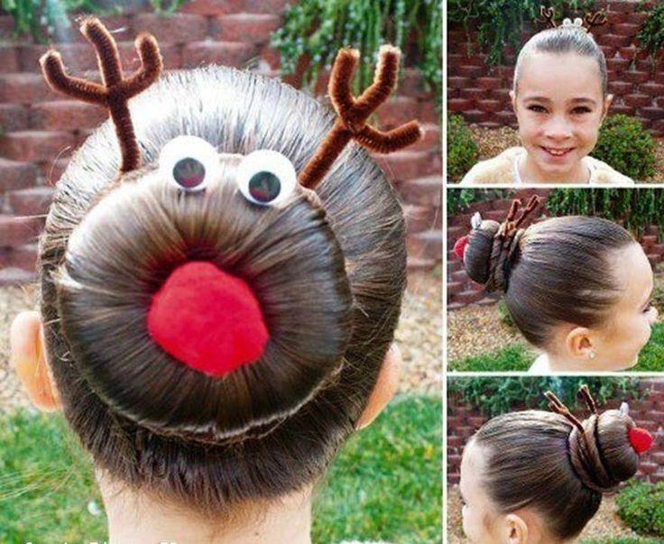 Reindeer bun - Kids christmas hairstyle
