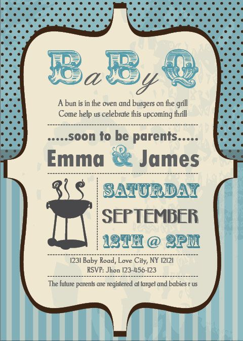 Baby Shower BBQ Invitation Couples Boy By PartyJony On Etsy