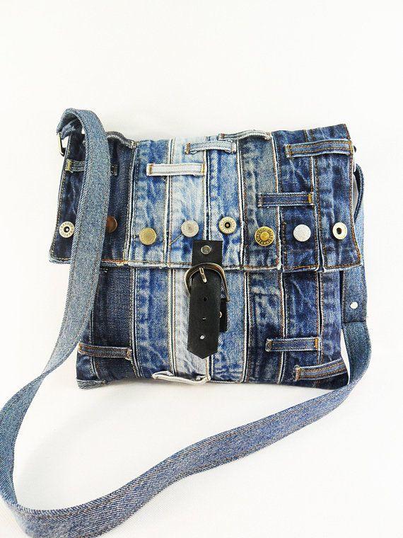 Denim recycled bag Blue denim crossbody Jeans school bag Travel bag Flap jean bag Unisex bag Fabric Vegan bag Eco friendly Large denim purse