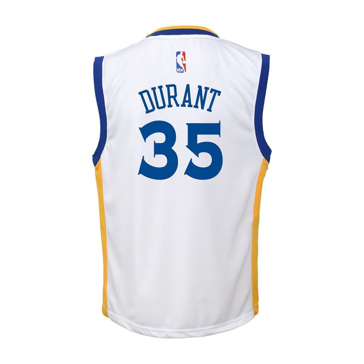 Toddler Adidas Golden State Warriors Kevin Durant Replica Jersey, Kids Unisex, Size: 4T, White