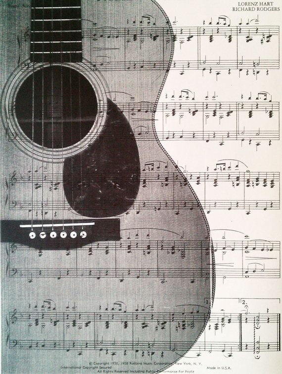 Dictionary Art Vintage Guitar Recycled book print illustration sheet music…