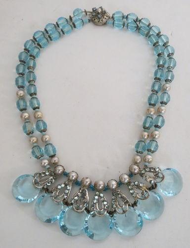MIRIAM HASKELL Blue Art Crystal Rhinestone Pearl Bib Necklace peace235 (seller) ebay.com