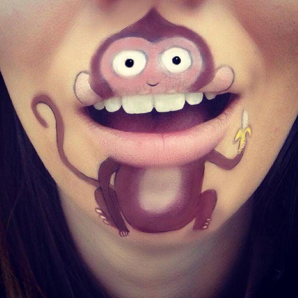 Artista transforma seus próprios lábios em personagens de desenhos - e o…