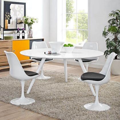 """Modway Lippa 60"""""""" Wood Top Dining Table with Tripod Base in White"""