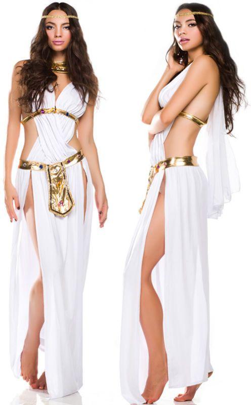 Sexy White Halloween Fancy Party Dress Greek Goddess Costume Long Dress BLS730 | eBay