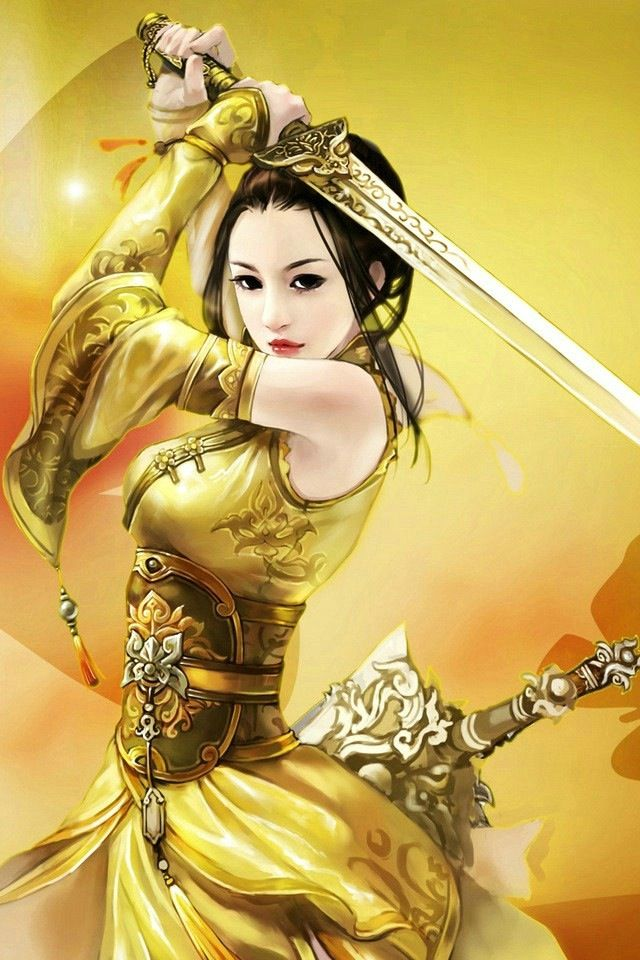 Chinese warrior woman with sword