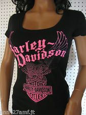 M nwot HARLEY DAVIDSON **Scoop Neck Pink Eagle Stretchy Rib ** T-Shirt