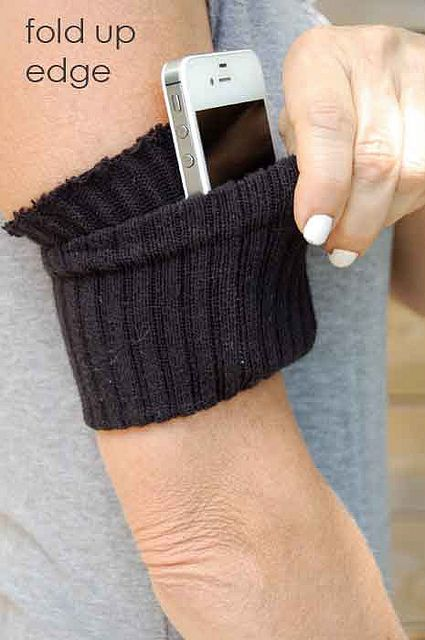 So doing this.  I do not have an I-phone so finding an arm band had been difficult, not anymore. *sock-iphone-holder-3 by The Art of Doing Stuff, via Flickr*