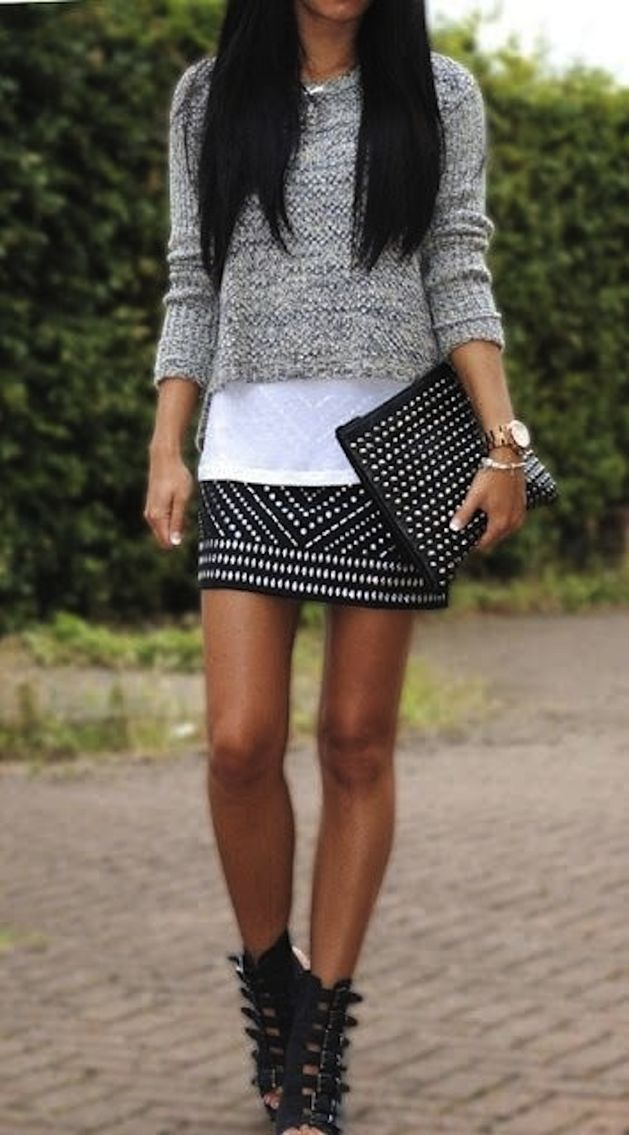 Cropped Sweater, Studded Metallic Miniskirt, White Tee, Studded Clutche