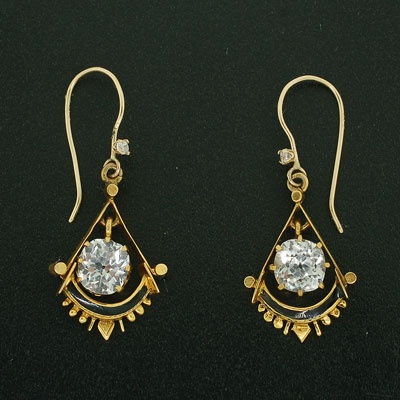 A Brandt and Son - Victorian 14kt Yellow Gold French Paste & Enamel Earrings