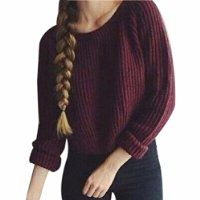QIYUN.Z Women's Wine Red Winter / Autumn Pullover Sweater Round Neck Short Knitwear Hot