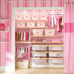Taking off the closet doors can really make a small space seem larger and it encourages organization.