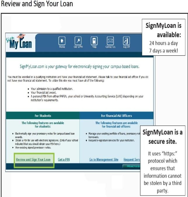 signmyloan.com where students will go to complete the additional requirements for a Perkins Loan