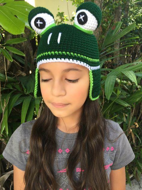 crochet frog Hat, Frog Hat | manualidades | Pinterest