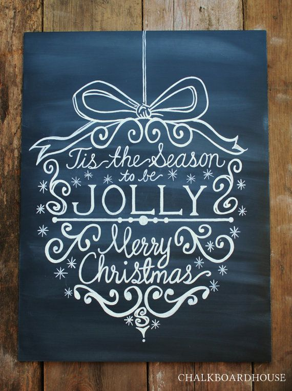 Hand Painted Chalkboard Christmas Ornament Sign - 18x24 Unframed Chalkboard Art