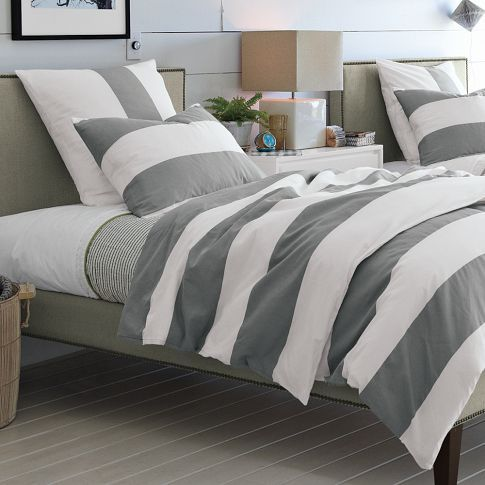 Stripe Duvet Cover + Shams- White/Feather Gray | west elm-could use this to make curtains