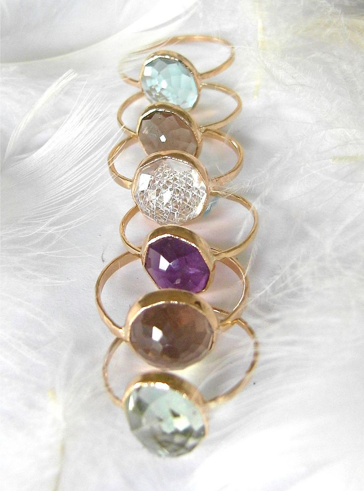 Beautiful Recycled 14k Gold, Stacking Gemstone Ring