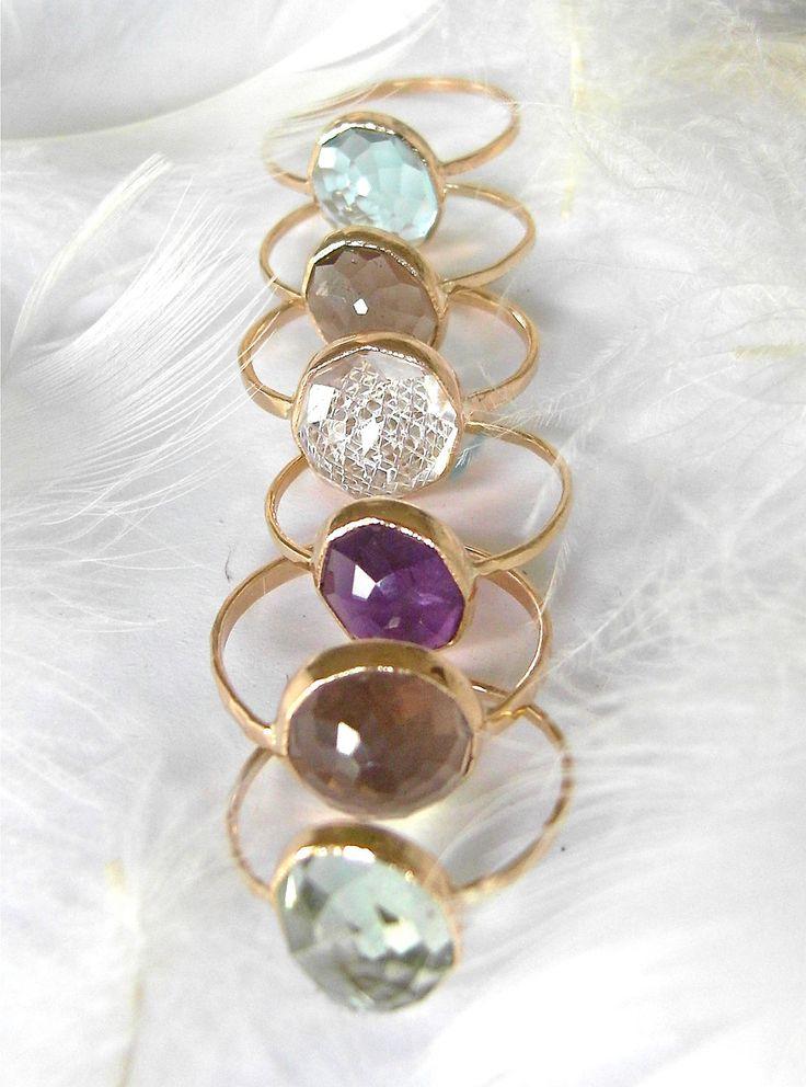 Beautiful Recycled 14k Gold, Stacking Gemstone Ring