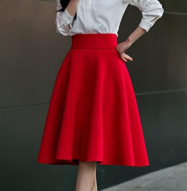 High Waist Pleat Skirt Green Black White Knee-Length Flared Skirts Plus  Size Ladies Jupe