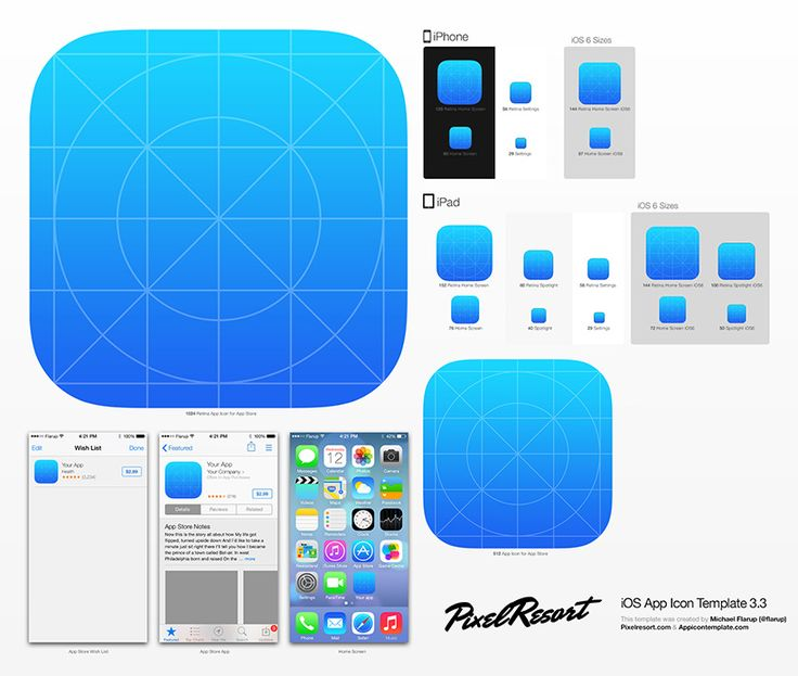 App Icon Template > iOS7 3.3 by DK's Michael Flarup at PixelResort • free download ; )