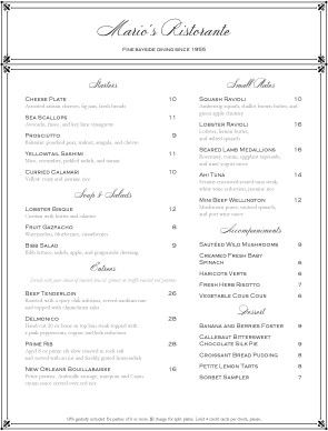 The Elegant Fine Dining Menu features a border tipped in flourishes, with upscale fonts. #menu #design #restaurant #template