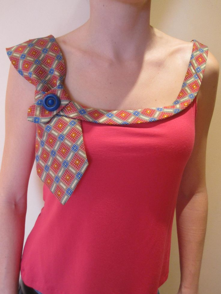 Necktie Camisole by GarageCoutureClothes    But try thinning the large end of the tie?