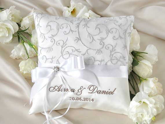 Lace Wedding Pillow Ring Bearer Pillow Embroidery Names Custom Colors on Etsy, $30.00