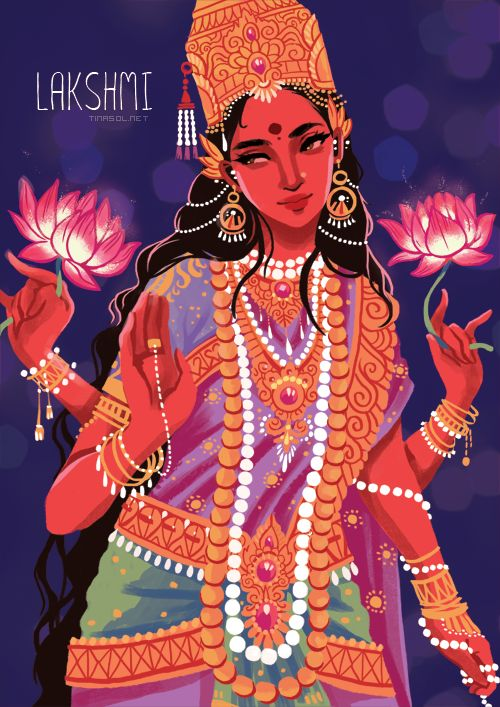 Illustration of the Hindu goddess Lakshmi by Tina Solstrand- http://www.yogadivinity.com/illustration-of-the-hindu-goddess-lakshmi-for-an-event