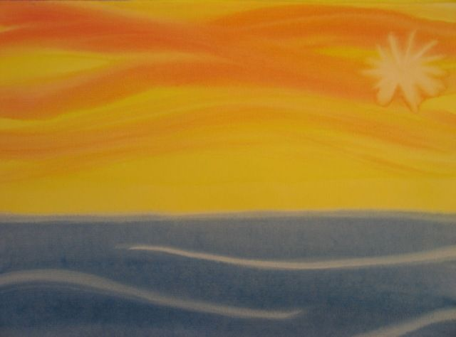 2nd day creation painting  On the second day God divided the air and water.