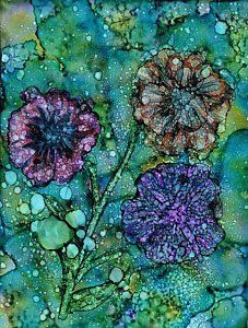 Alcohol Ink Painting - Inky Blooms by Christine Crawford