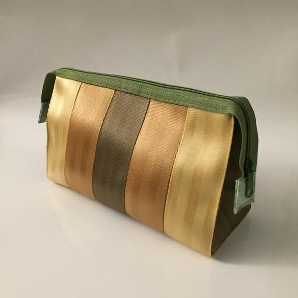 Ladies Large Cosmetic Bag - Copper Stripes