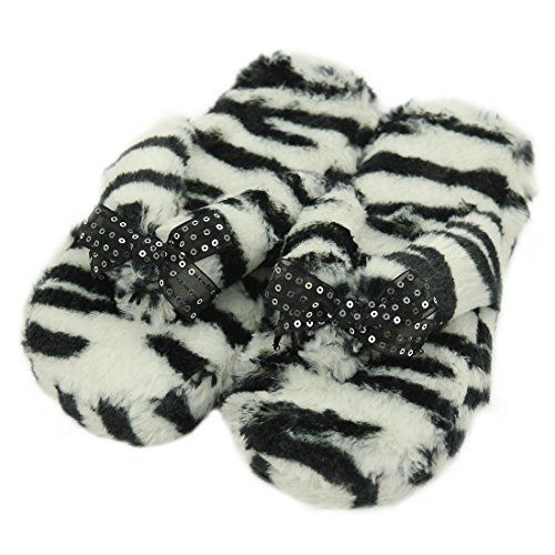 Gohom High Quality Fashion White Dots Plastic Sole Indoor House Comfy Flip Flops For Women Zebra Size L *** To view further for this item, visit the image link.