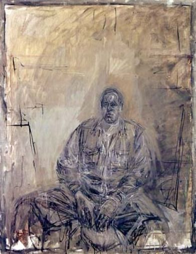 """Don Mangus' """"It Only Hurts When I Smirk."""": Alberto Giacometti Seated Figure Painting"""