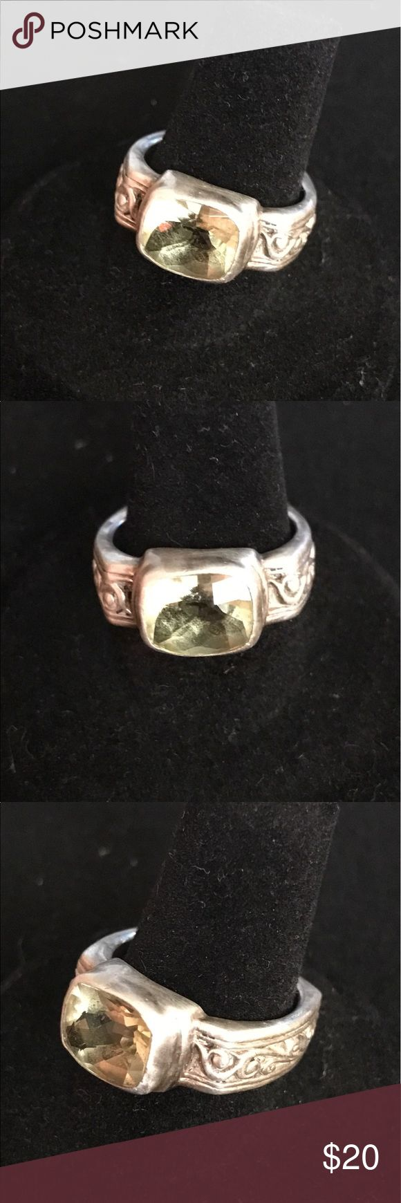 Sterling silver peridot ring Beautiful solid sterling silver ring with large peridot stone. Jewelry Brooches
