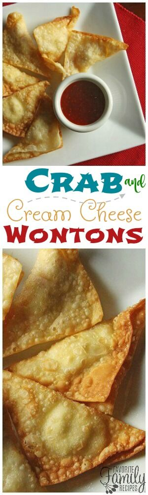 Crab and Cream Cheese Wontons are the perfect appetizer. You will love the crunchy wonton stuffed with hot, crab filling and dipped in sweet and sour sauce! via @favfamilyrecipz