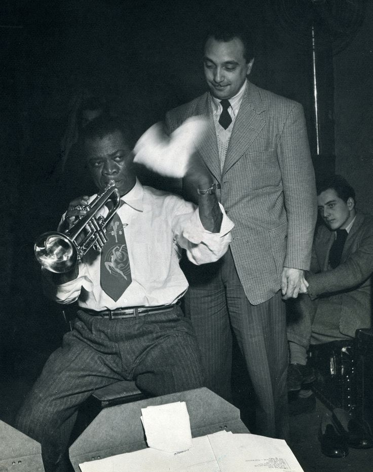 "24hoursinthelifeofawoman:  ""Django Reinhardt and Stéphane Grappelli with Armstrong in Nice, February 17, 1948.  """