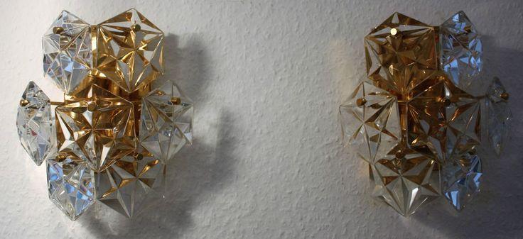 KINKELDEY PAAR Kristall Wandlampen Pair Wall Sconces  60s 70s Vintage Wandlampe